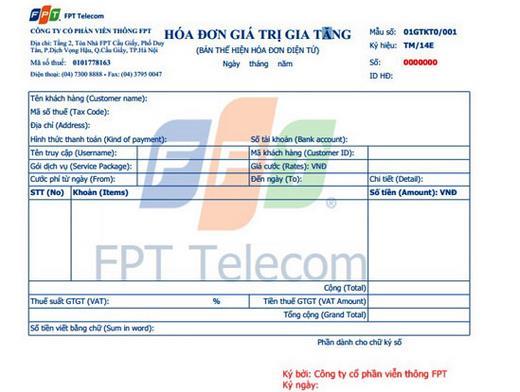 Hóa đơn cước FPT Telecom