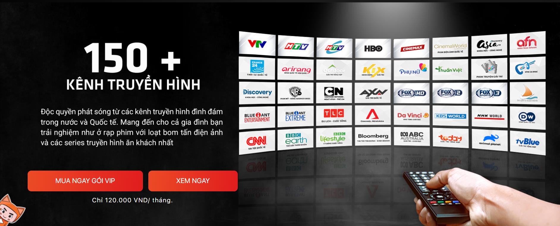 Danh sách kênh gói Gói VIP